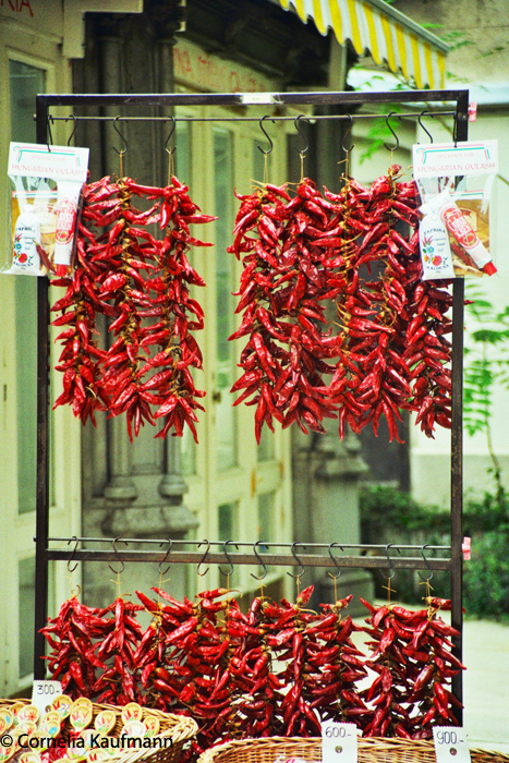 Paprika Vendor in Budapest. Copyright Cornelia Kaufmann