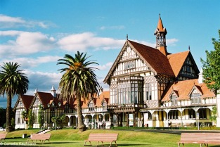 Rotorua Museum of History & Art, formerly the Rotorua Bath House, sits inside the Government Gardens and overlooks croquet and bowling lawns. It is one of the most intricate buildings in the country. Copyright Cornelia Kaufmann