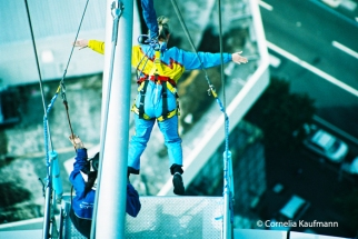 Taking the plunge at the Sky Jump, Auckland Sky Tower. Copyright Cornelia Kaufmann