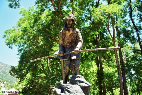 "Statue of John ""Snowshoes"" Thompson near the Mormon Station. Copyright Cornelia Kaufmann"
