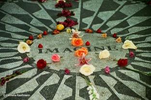 John Lennon Memorial Strawberry Fields in Central Park. Copyright Cornelia Kaufmann