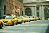 Line of yellow cabs outside Grand Central Terminal. Copyright Cornelia Kaufmann