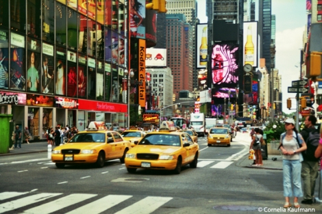 Bright lights and colours of Times Square. Copyright Cornelia Kaufmann