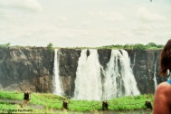 Very little water of the Zambezi going over Victoria Falls. Copyright Cornelia Kaufmann