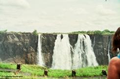 Very little water of the Zambezi going over Victoria Falls. Copyright Cornelia Kaufmann