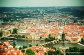 View of Prague's Old Town from Petrin Hill. The Charles Bridge and spires of the Church of Our Lady before Týn are clearly identifiable. Copyright Cornelia Kaufmann