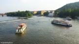 Boats on the Vltava river, seen from the Charles Bridge. Copyright Cornelia Kaufmann