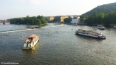 Boats on the Vltava river, seen from the Charles Bridge. Copyright Cornelia Kaufmann