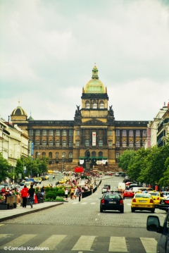 Wenceslas Square looking towards the Czech National Museum at the south end. Copyright Cornelia Kaufmann