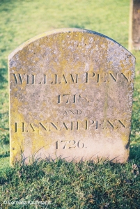 The grave of William Penn, who died in 1718, and his wife Hannah who died in 1726. They are buried in the cemetery surrounding the Jordans Quaker Meeting House. Copyright Cornelia Kaufmann