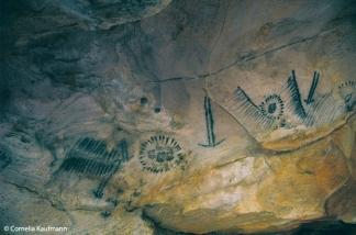 Aboriginal cave paintings, Yourambulla Caves. Copyright Cornelia Kaufmann