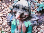 Gnome on the path in the fairytale forest. Copyright Cornelia Kaufmann