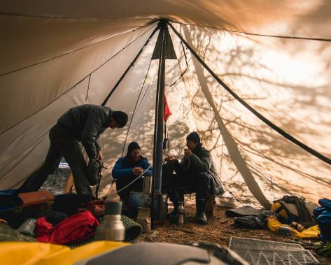 Inside a tent. Photographer Andrew Bydlon / Backpacker Magazine