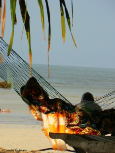 Relaxing in hammocks on the beach in Jambiani. Copyright Cornelia Kaufmann