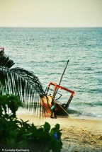 Boat on the beach in Stone Town, Zanzibar. Copyright Cornelia Kaufmann