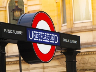 Underground sign at the entrance to Charing Cross tube station on Trafalgar Square, London. Copyright Cornelia Kaufmann