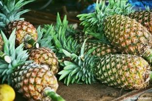 Pineapples in the Stone Town market. Copyright Cornelia Kaufmann