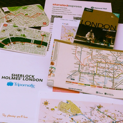 Last year's travel planning for my London trip. Copyright Cornelia Kaufmann