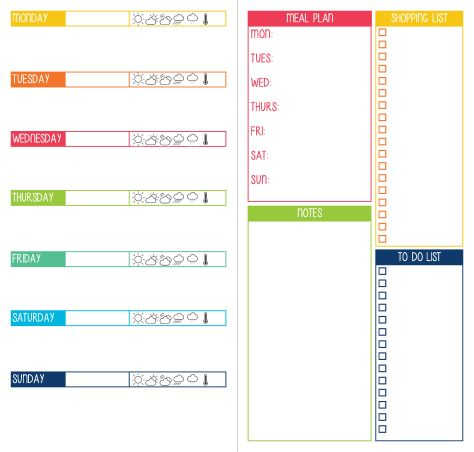 Weekly planner I designed for the Midori. Week On One Page, plus meal plan, shopping list, to do list and notes.
