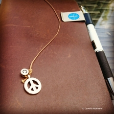 Bookmark charms: C for Conny and a Peace sign, bought at the local Art Supply Store