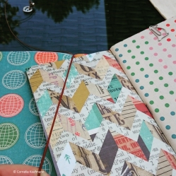 Simply slide the notebooks that you connected with a rubber band under the central elastic band.