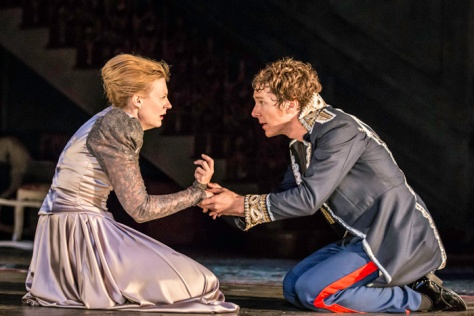 Gertrude (Anastasia Hille) and Hamlet (Benedict Cumberbatch). Credit: Johan Persson/