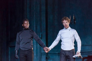 Laertes (Kobna Holdbrook-Smith) and Hamlet (Benedict Cumberbatch) before their duel. Credit: Johan Persson/