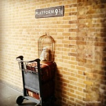 Halfway through the wall at King's Cross to get to the Hogwarts Express on Platform 9 3/4 © Cornelia Kaufmann