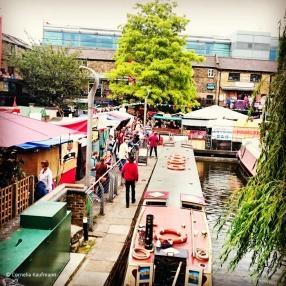 Camden Lock / Middle Yard Market with Camden canal and boats, London. © Cornelia Kaufmann