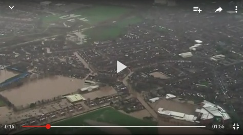 Carlisle's Botcherby area around Brunton Park flooded. The flooded area to the left of the picture is Carlisle FC's Brunton Park. The play button points directly to my old house.