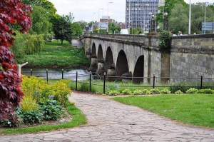 Eden Bridge and Carlisle City Centre seen from Rickerby Park in Stanwix