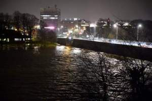 River Eden in Flood at Eden Bridge, seen from Rickerby Park towards Carlisle City Centre