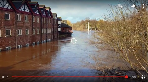 "River Caldew and University of Cumbria's Student Halls of Residence ""Old Brewery"" was basement/ground floor flats flooded"